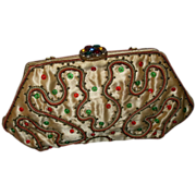 Vintage Jeweled Clasp Beaded Handbag Purse
