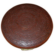SALE Vintage Large Leather Powder Compact