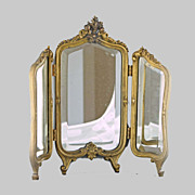 SALE Victorian French Dore' Bronze Triptych Mirror