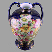 REDUCED Nippon Cobalt & Roses Vase