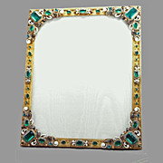 SALE Austrian Jeweled & Enameled Bronze Picture Frame