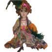 Stunning ANTIQUE Boudoir Doll Art Deco  Flapper / Gypsy Mardi Gras Composition