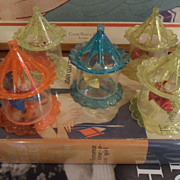 Mid Century Christmas Spinners Twinklers Ornaments Birdcage Plastic