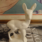 Rare McCoy Ladder Piece Fawn Flower Bowl Ornament Matte White DEER Brush Finish