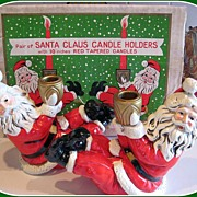 1950's Pair of Santa Claus Candle holders M I N T