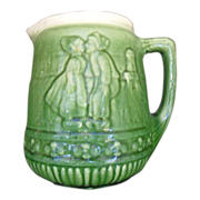 Early 19OO'S Brush McCoy Amsterdam  Green Stoneware Pitcher Dutch Kissing couple 53