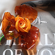 Brilliant BOLD Orange Dimensional FLOWER Brooch Acrylic Plastic