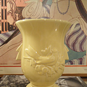 Vintage 1950's McCoy YELLOW Birds / Berries Vase