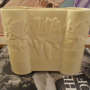 1940's Nelson McCoy Castle Gate Butterfly Vase YELLOW Matte - Excellent
