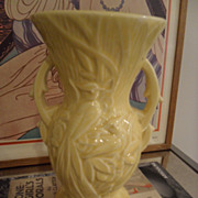 Vintage McCoy Art Pottery Double Handle Yellow Peacock Vase 8""