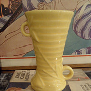 Art Deco Leaves Berries Vase USA Nelson McCoy Pottery YELLOW glaze