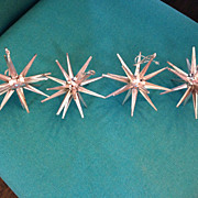 Four Metallic light Rose Pink  Sputnik Star Plastic Christmas Tree Ornaments
