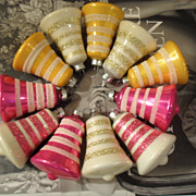 10 Vintage Glass Christmas Bell Ornaments USA  Stripes