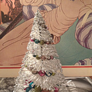 Vintage Mid Century Bottle Brush Tree White with Mercury Glass Beads