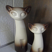 PAIR of Howard Pierce Cat Mid Century California Pottery Siamese Textured Finish