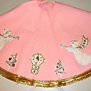Vintage Kitschy Pink Felt Christmas Tree Skirt Sequins Angels