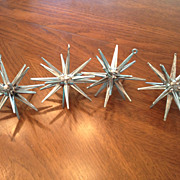 Four Metallic Blue  Sputnik Star Plastic Christmas Tree Ornaments