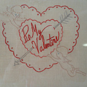 "Vintage Hand Stitched ""Be My Valentine"" Framed Needlework"