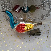 Vintage Christmas Peacock Bird Clip on Ornament  Spun Glass Tail
