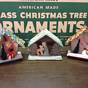 Vintage Shiny Brite JAPAN Christmas Tree Ornaments Houses