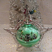 Vintage 1960's  Christmas Seasons Greetings Plastic Star ORB Ornament