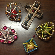 5 Vintage Czech / Japanese Wire Beaded Ornaments
