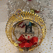 Gold Mesh Wire Wrapped Christmas Ornament with Snowman