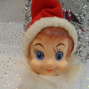 Vintage Christmas Pixie Elf Ornament Red Ball Body