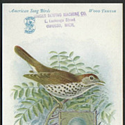 Singer Sewing Machine Advertising Card American Song Birds Series Wood Thrush