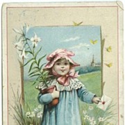 1896 Insurance Advertising Trade Card Sweet Girl w Lilies