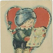 Sweet Little Boy with St. Valentine's Card Postcard USA