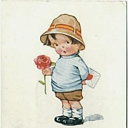 Valentine's Day Postcard Little Boy & Rose Sent to Henderson Sandusky Michigan
