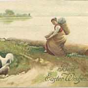 Easter Postcard Country Woman Rests on Log Chickens