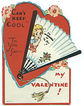 Mechanical Fan Valentine Golden Curls Girl