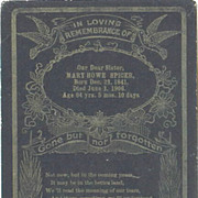 Mary Howe Spicer Memorial Card 1841-1906