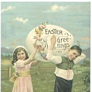 Easter Postcard Children with Giant Decorated Egg