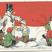 Little Children Build a Good Looking Snowman Postcard