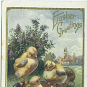 Easter Postcard with Little Chicks & Lilac Bush