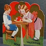 Vintage Fold Out Valentine Little Girl Boy with Dish of Hearts