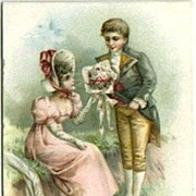 Tiny Valentine Greeting Card with Couple in Period Costume