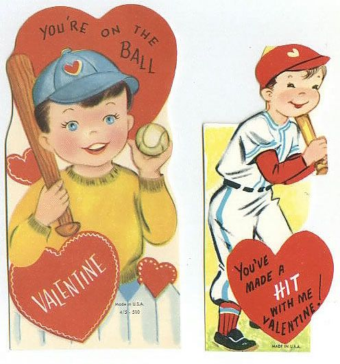 Two Children's Baseball Valentines