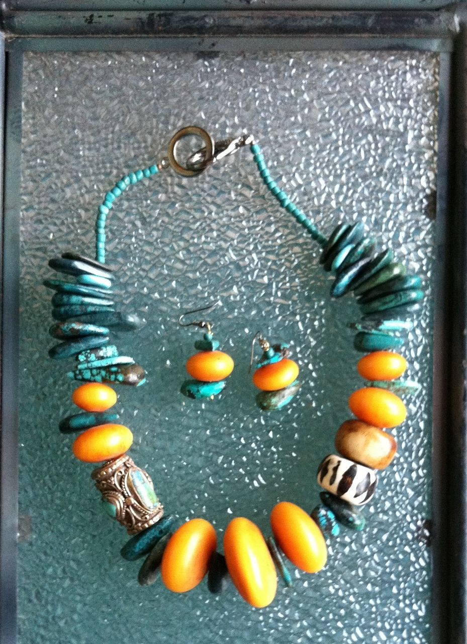 African Amber (Copal) and Turquoise Necklace
