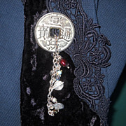 Chinese Replica Coin Pin with Pearl and Charms