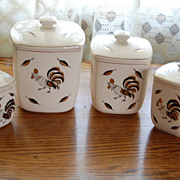 Vintage Rooster Decor &quot;Royal Sealy&quot; Pottery Style Canister Set