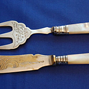 Vintage Mother of Pearl Handled Bread Fork and Butter Knife