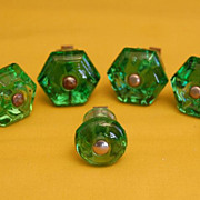 Green Depression Glass Style Furniture Door /Drawer Pulls