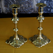 SOLD Early Solid Brass Pedal Base &quot;Geo Grove&quot;  Candlesticks