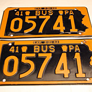 "1941 Bus  Pennsylvania ""Keystone State"" License Plates"