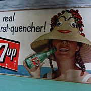 Vintage 1958 7-Up Lithograph on Cardboard Advertising Sign