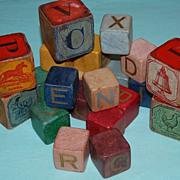 Early 1900's Wooden Toy Painted Building Blocks with Lithographs
